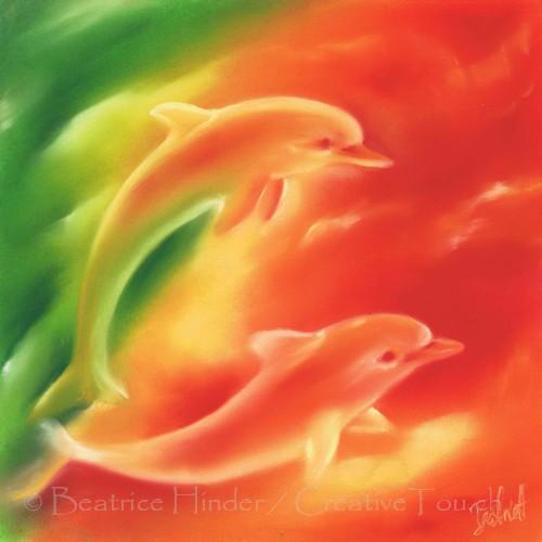 2 Delfine- orange-grün