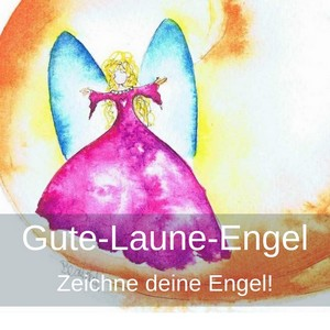 lustiger Engel in Pink-orange und blauen Flügeln, Gute-Laune-Engel