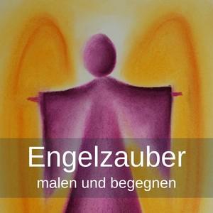 Engelzauber, Engel pink, Hintergrund Orange-Gelb